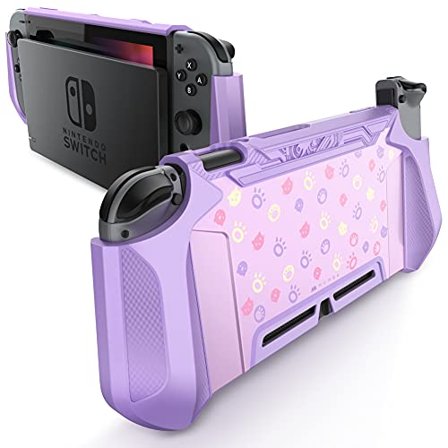 Mumba Dockable Case Compatible for Nintendo Switch, [Blade Series] TPU Grip Protective Cover Case with Ergonomic Design and Comfort Grip (Light Purple)