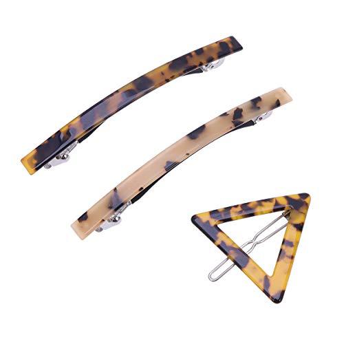 Lurrose Haarspange mit Leopardenmuster, Acryl, geometrische Haarnadeln, klassische Feder-Haarspangen für Frauen und Mädchen, 3 Stück
