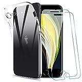 KEEPXYZ Funda para iPhone SE 2020 + 2 Pcs Protector de Pantalla para iPhone SE 2020 Cristal Templado, Flexible Suave Silicona Transparente TPU Antigolpes Carcasa + Vidrio Templado para iPhone SE 2020