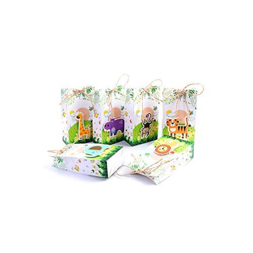 c-sky 12st Safari-Tier-Bevorzugung Kasten-Geschenk-Taschen Dschungel-Geburtstags-Themed Party Dekoration Ereignis Party Supplies
