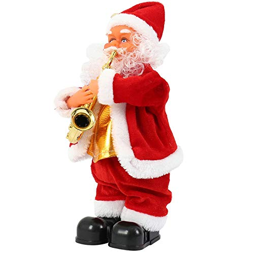 Christmas Musical Christmas Santa Claus Toys Electric Singing Standing Decorations Battery Operated Decoration (Saxphone)