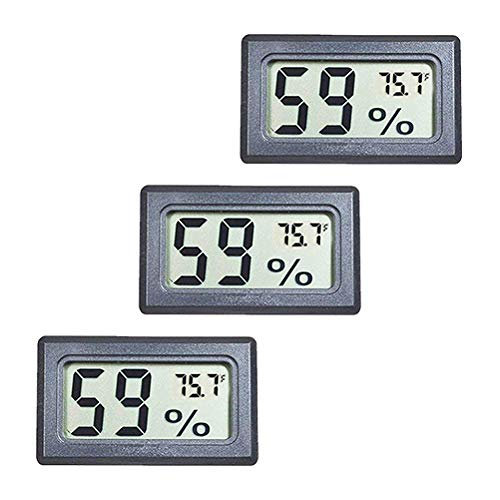 BETAZOOER 3 Pack Mini Reptile Hygrometer Thermometer Digital Indoor Humidity Gauge Monitor with Temperature Meter Sensor Fahrenheit (℉)