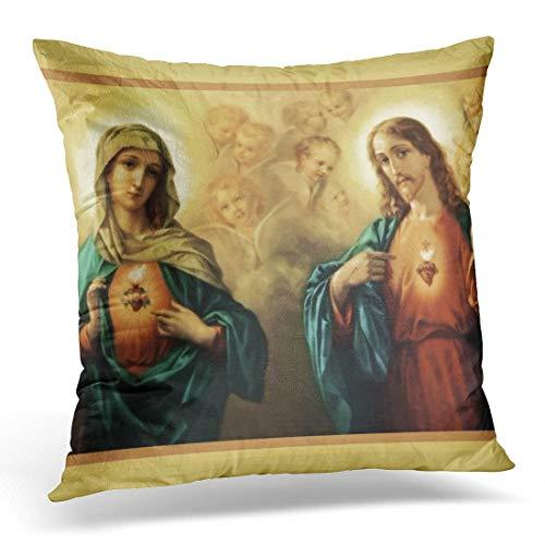 Jhonangel Throw Pillow Cover Heart Personalize Family Sacred Immaculate Mary Funda de Almohada Decorativa Decoración del hogar Funda de Almohada Cuadrada 18x18 Pulgadas
