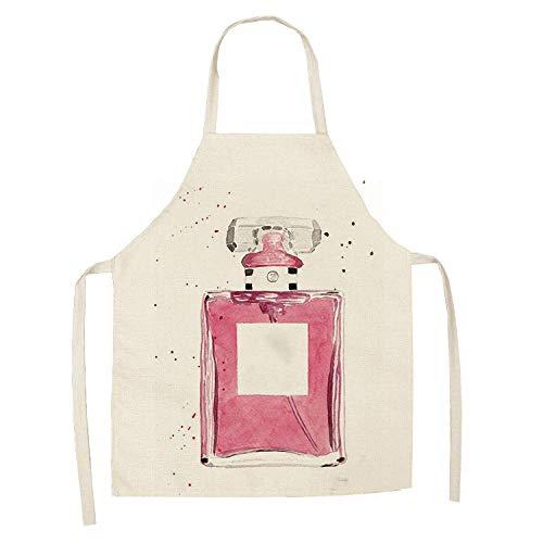 Manguera de ducha Nueva ropa de pintado a mano botellas de perfume Impresión de la flor delantales de la cocina Dinner Party Unisex Cocinar babero de limpieza delantal divertido-9_55x68cm for adultos