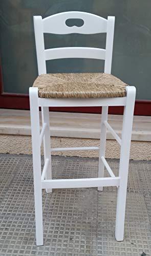 Snack Tabouret en paille, hauteur 67 cm, laqué blanc.