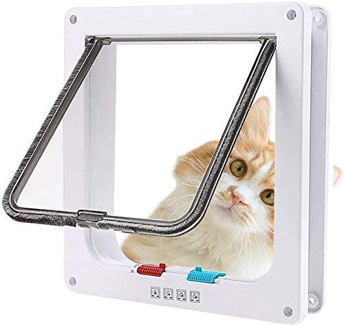 Sailnovo Katzenklappe Hundeklappe 24.5 * 28.5 * 5.5cm 4 Wege Magnet-Verschluss für Katzen und kleine Hunde - Hundetür Katzentür Haustierklappe (XL, Weiß)