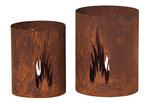 2er Set Windlicht Flammen H25cm H21cm Rost Laterne Garten-Deko Gartenleuchte Rostdeko Edelrost