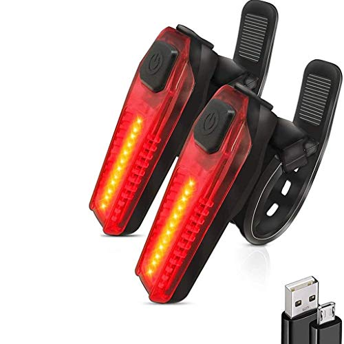 DFKDGL Pack de 2 Feux arrière de vélo Rechargeables USB, lumières stroboscopiques de sécurité de vélo arrière Ultra Lumineuses, s'adaptent à Tous Les vélos de Route ou Casques Accessoires