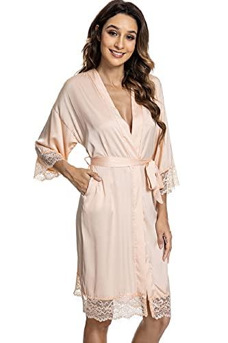 UMIPUBO Morgenmantel Damen Satin Robe Bademantel schräg V-Ausschnitt Kurz Kimono Robe Nachthemd Brautjungfern Robe Spitze Dessous Set Reine Farbe Nachthemd, champagnerfarben, 48