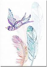Nordic Super Fire Ballet Meisje Terug Naar Kleuterschool Canvaskunst Schilderij Aquarel Veer Flamingo Poster Frameloze Pai...