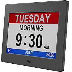 HUANUO Digital Calendar Alarm Day Clock with Custom Alarms and Calendar Reminders, Alarm Clock with Extra Large Impaired Vision People, The Aged Seniors, The Dementia, for Desk, Wall Mounted