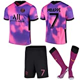 cjbaok RKYZ 2021 Paris Three Away Jersey Rosa Violeta Camiseta de fútbol N ° 10 Neymar N ° 7 Mbappé Camiseta para niños