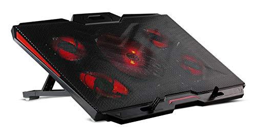 SKGAMES Notebook Laptop Kühler Gamer Ständer Kühlpad Cooler Unterlage für 12-17 Zoll, 5 x LED Lüfter, 9 Stufen Höhenverstellung, Schwarz