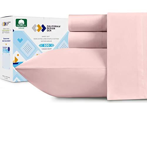 Blush Pink Queen Juego de sábanas de algodón puro de 500 hilos, suave tejido de satén, 4 piezas, elástico profundo bolsillo se adapta a colchones altos y de espuma de perfil...