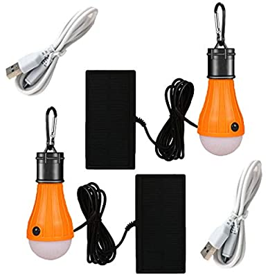 Viewpick Solar Garden Lights LED Lantern Tent Light Bulb 3 Modes Battery Powered Portable USB Rechargeable lights for Doghouse Hurricane Emergency Light Courtyard Camping Hiking Fishing Shed Playhouse
