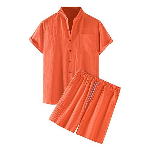Kalkaly Tuta Uomo Estiva Completa Cotone E Lino Manica Corta Camicia Coreana + Pantaloncini Set Tute Sportive Uomo Completo Casual Elegante Taglie Forti Con Elastico in Vita (Arancione, S)