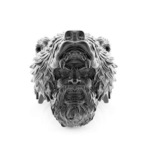 WLXW Anillo de Acero Inoxidable Vikingo, Cabeza de Barbudo Oso Cabeza Celta Anillo de Los Hombres, Espíritu Guerrero Nórdico, Nunca Ceder, Black,12