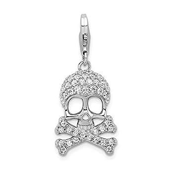 925 Sterling Silver Amore La Vita Pl Cubic Zirconia Cz Skull Cross Religious Bones Pendant Charm Necklace Dagger Dragon Fine Jewelry For Women Gifts For Her