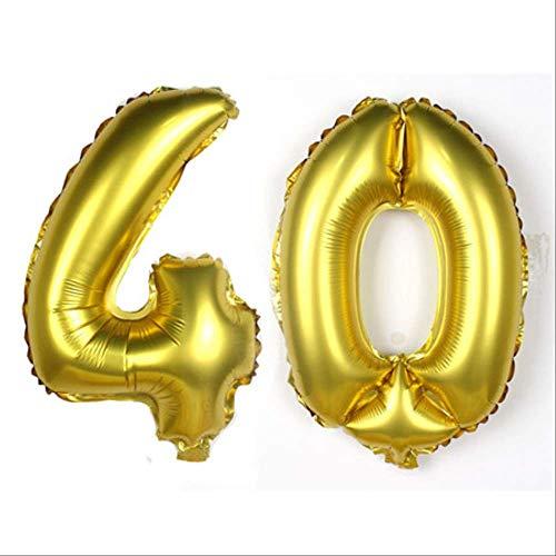 LLXX 16inch 10/20/30/40/50/60 Jubiläum Aluminiumfolie Luftballons Alles Gute zum Geburtstag Luftballons Erwachsene im Alter von Geburtstag Dekor Dekor liefert Gold40