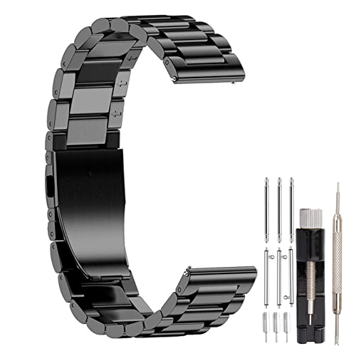 SEUER\時仕 時計バンド 20mm ステンレス 腕時計ベルト メタル 時計ブレスレット ウォッチストラップ 金属交換ベルトクイックリリース 男女通用 (ブラック 20mm)