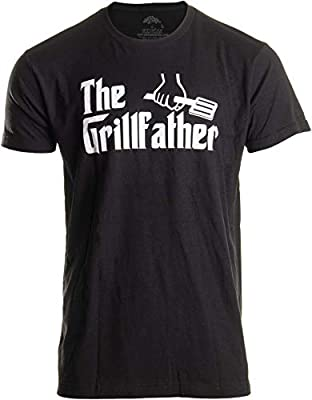 The Grillfather | Funny Dad Grandpa Grilling BBQ Meat Humor T-Shirt Joke for Men - (Adult,L) Black