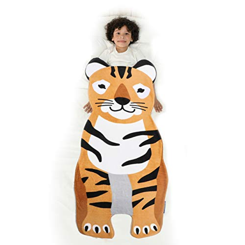 Blankie Tails   Wearable Blanket - Double Sided Super Soft and Cozy Minky Fleece Blanket, Machine Washable Premium Quality Fun Blanket for Kids (Tiger)