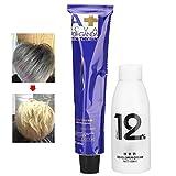Zetiling Crème de couleur de cheveux, couleur de cheveux, crème de teinture pour les cheveux crème de teinture pour les cheveux blancs crème de teinture pour cheveux pâle avec développeur de cheveux