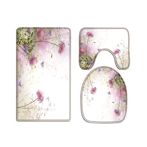 A.Monamour Juego de 3 Alfombrillas de Baño Romantico Flores Púrpuras Naturaleza Paisaje Fondo Floral Franela Absorbente Antideslizantes Alfombra de Baño Tapete