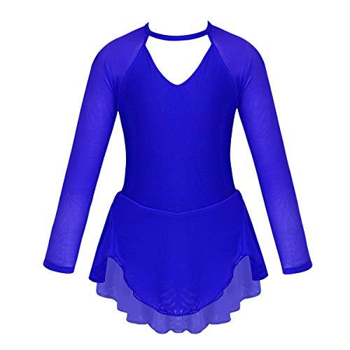 TiaoBug Mädchen Eiskunstlauf Kleid Ballettkleid Ballettanzug Langarm Body Ballett Trikot Turnanzug Eislaufen Bekleidung Wettbewerb Kostüm gr. 104-152 Blau V Ausschnitt 134-140/9-10 Jahre