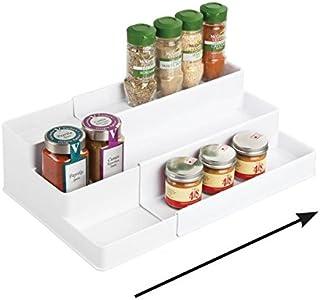 mDesign étagère à épices extensible à 3 niveaux – présentoir à épices en PVC pour sel, poivre, paprika, etc. – rangement d...