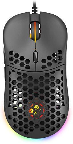 Matar MT-X24 Honeycomb Gaming-Maus, ultraleicht, bis zu 16000 dpi, 60 g, Pixart 3389, Schwarz