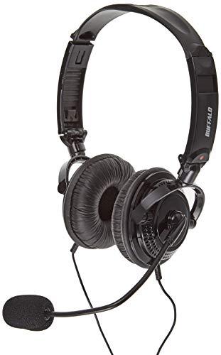 BUFFALO 両耳ヘッドバンド式ヘッドセット 4極 大型ドライバー折りたたみ BSHSHCS315BK