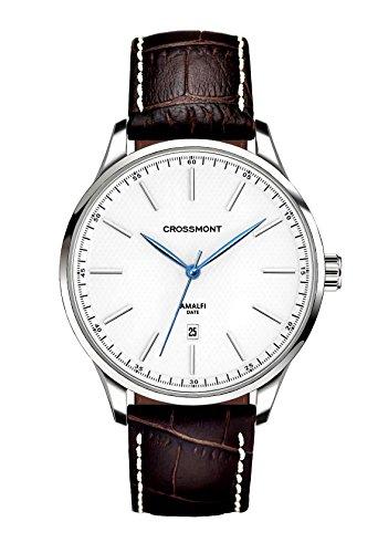 Crossmont 0110409 - Orologio al quarzo da uomo, con display analogico bianco e cinturino in pelle marrone