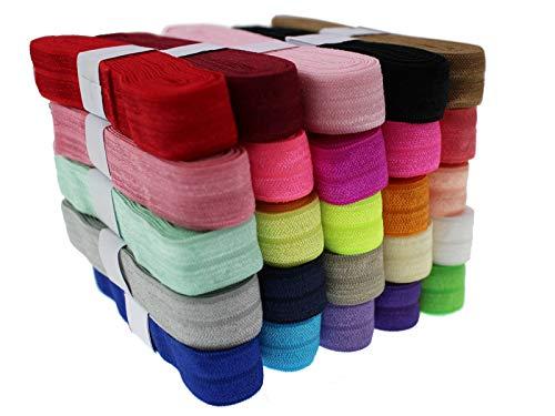 PAMIR TONG 5/8'' Fold Over Elastic FOE Headband Baby Hair Bow Soft Fold Over Elastic Binding Webbing Tape Craft Sewing Assortment Color (50 Yards Mixed)