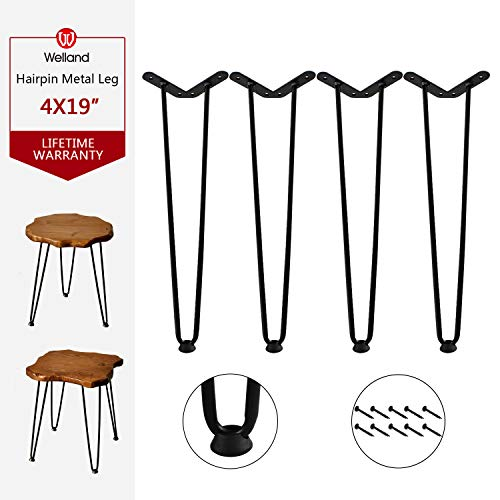 """Welland 19' Satin Black Hairpin Metal Legs 1/2"""" Diameter Set of 4 with Free Screws Use to Home DIY Projects for Furniture"""