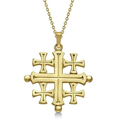 Cruz cruzada de Jerusalén cruzada para hombres o mujeres en oro amarillo de 14 k, colgante cruzado de oro amarillo
