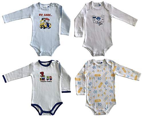 4 Body de manga larga de algodón cálido para bebé o niño (paquete de 4) Combinazione 2 9-12 Meses