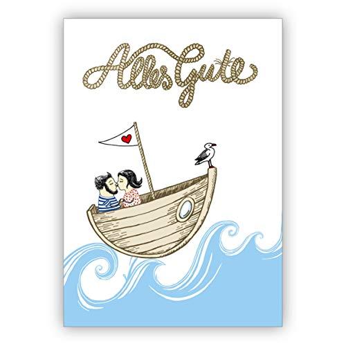 Romantische wenskaart ook voor bruiloft met koppels in de boot: alles goed • fijne vouwkaart met envelop om te feliciteren voor goede wensen.