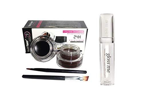 ClubComfort� Gel Eyeliner Black & Brown and Gloss Me Transparent Color Supreme Shine Lip Gloss pack of 2