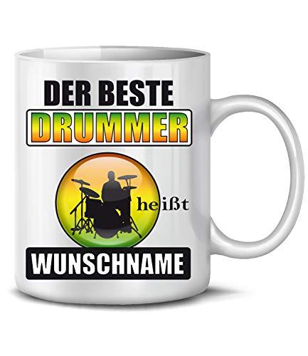 Golebros Der Beste Drummer heißt Wunschname Musik 6467 Schlagzeuger Geburtstag Geschenk Fun Tasse Becher Kaffeetasse Kaffeebecher Weiss