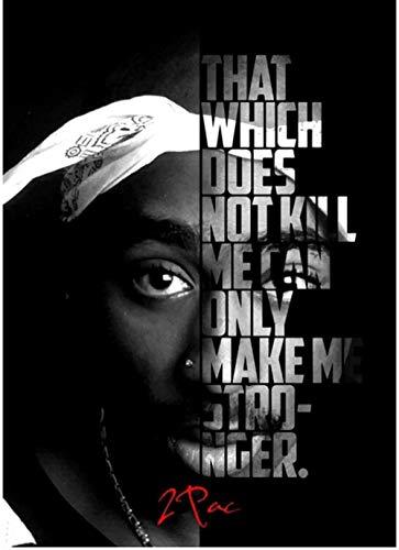 NC87 Tupac Shakur Figura Retrato póster Motivacional Moderno Lienzo Pintura decoración del hogar impresión en lienzo-50X70Cm sin Marco