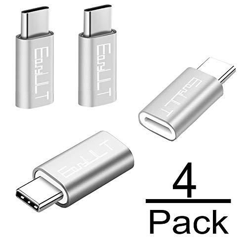 EasyULT USB C Adapter[4 Stücke], USB C auf Micro USB Adapter mit für Galaxy S8/S8+/A5(2017), P9/P10/Nova,Nexus 5X/6P,OnePlus 2/3/3T, LG G5/G6/V20 und andere Type C Geräte(Silber)