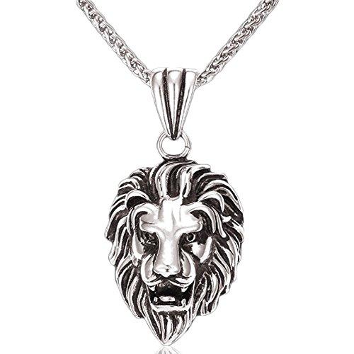 MESE London Collana Testa Di Leone Placcato Platino 'Jungle King' in Confezione Regalo