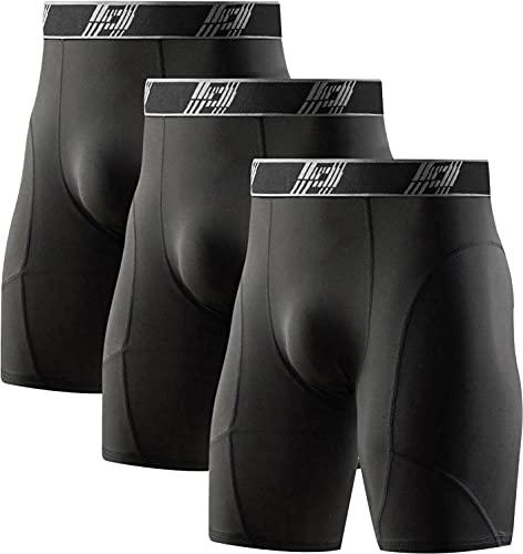 HOPLYNN 3er Pack Kompressionshosen Herren Tights Kurz Funktionsunterwäsche Sport Unterhose Schnelltrocknendes Laufhose 3 Schwarz XL
