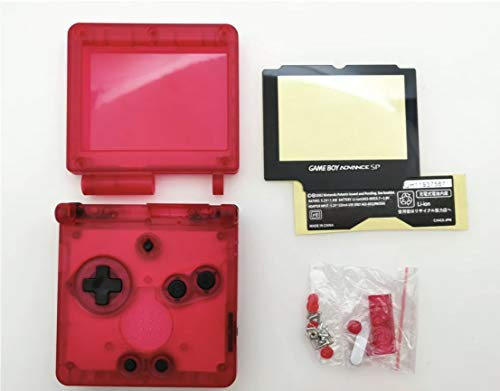 RGRS Replacement Transparent Watermelon Red Full Housing Shell Case Repair Parts Kit w/Lens & Screwdriver for Nintendo Gameboy Advance SP GBA SP Console… [video game]