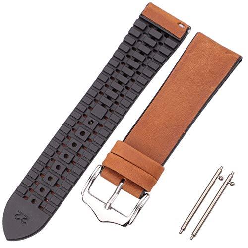 DAAGFC Correa de reloj de piel de vaca y silicona 18 20 22 mm para hombres y mujeres, impermeable, transpirable, accesorios de reloj (color de la correa: marrón oscuro, ancho de la correa: 22 mm)