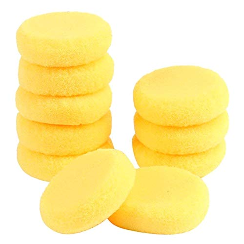 COMEYOU 10 Piezas de Esponja Artesanal Amarilla esponjas de Pintura de Artista sintético Redondo para Pintar cerámica esponjas de Arte de Acuarela 2,75 Pulgadas