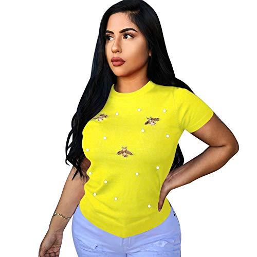 SLYZ Primavera Y Verano para Mujer, Nueva Camiseta Elástica con Diseño De Mariposa con Cuentas, Cuello Redondo, Camiseta De Mujer De Gran Tamaño, Manga Corta para Mujer