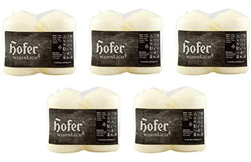 Hofer Velas de pilar, 10 unidades, 17 horas de combustión, color marfil, 5 cm x 8 cm, cera sin perfume, sin goteo, larga duración, calidad de la UE, 1 x 10 unidades