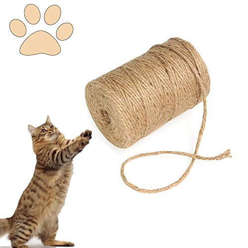 FAFAFA Sisalseil für Kratzbaum,Katzenkratz Seil,Reißfeste Sisalschnur,Natural Sisalseil,Perfekt Geeignet für Katzen Kratzbäume,Naturfaser Seil,DIY Katzen Kratzbäume (50 Meter)